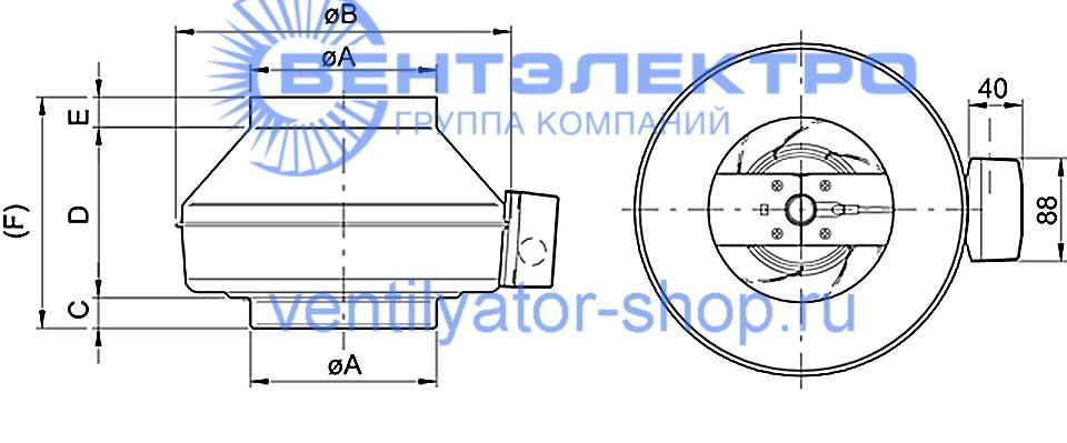 Размеры канального вентилятора ВКВ Е