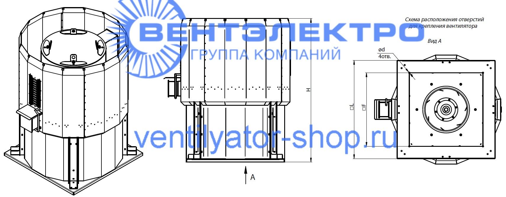 Габаритные и присоединительные размеры канального вентилятора ВКРФм-ДУ 6,3